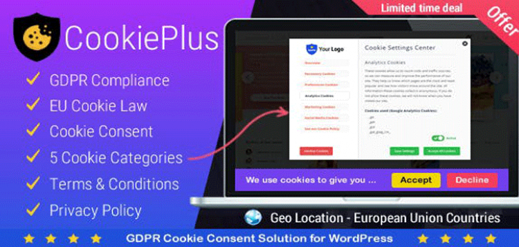 Item cover for download Cookie Plus - GDPR Cookie Consent Solution for WordPress. Master Popups Addon