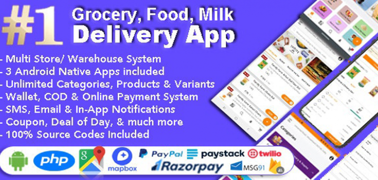 Item cover for download Grocery and Vegetable Delivery Android App with Admin Panel | Multi Store with 3 Apps